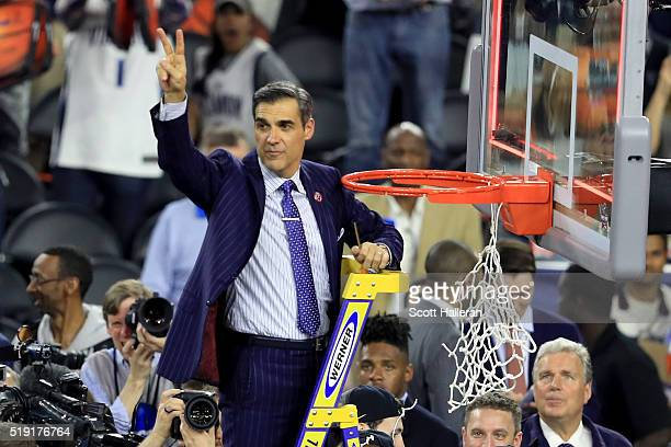 Head coach Jay Wright of the Villanova Wildcats cuts the net after defeating the North Carolina Tar Heels 7774 to win the 2016 NCAA Men's Final Four...