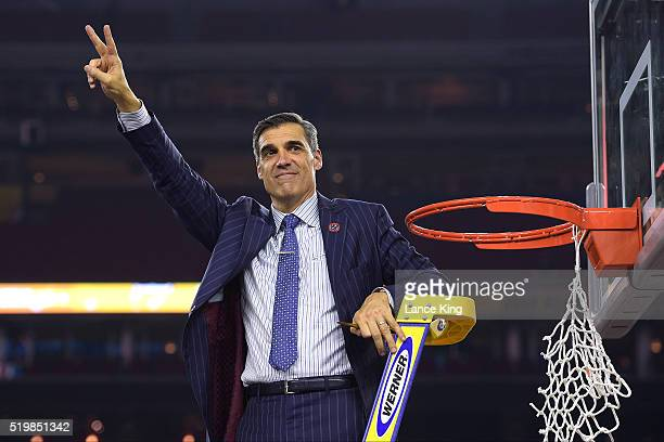 Head coach Jay Wright of the Villanova Wildcats cuts the net following their 7774 victory against the North Carolina Tar Heels during the 2016 NCAA...
