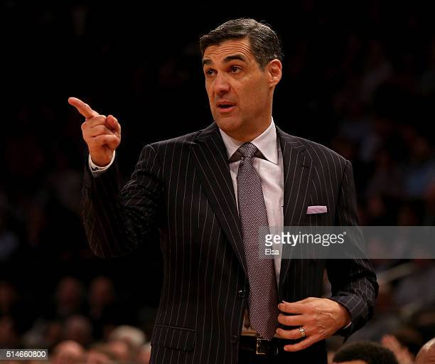 Head coach Jay Wright of the Villanova Wildcats directs his team in the first half against the Georgetown Hoyas during the quarterfinals of the Big...