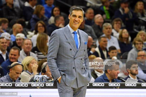 Head coach Jay Wright of the Villanova Wildcats during a college basketball game against the Ohio Bobcats at Wells Fargo Center on November 16, 2019...