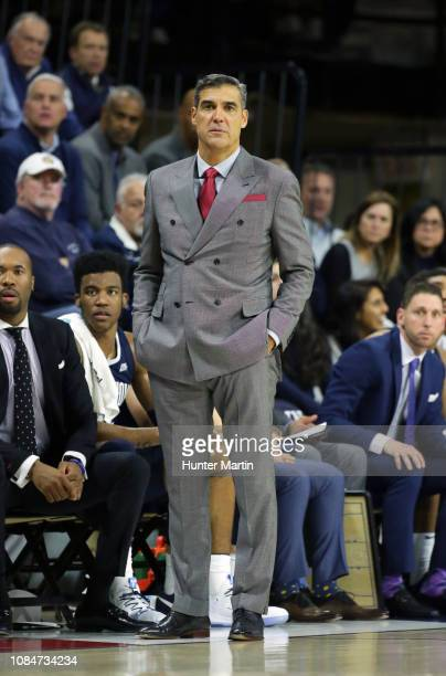 Head coach Jay Wright of the Villanova Wildcats during a game against the Penn Quakers at The Palestra on the campus of the University of...