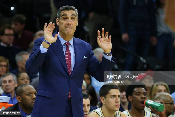 Head coach Jay Wright of the Villanova Wildcats in action against the Seton Hall Pirates during a college basketball game at Wells Fargo Center on...