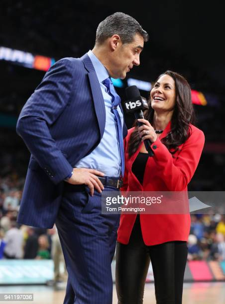 Head coach Jay Wright of the Villanova Wildcats is interviewed by Tracy Wolfson during halftime of the 2018 NCAA Men's Final Four National...