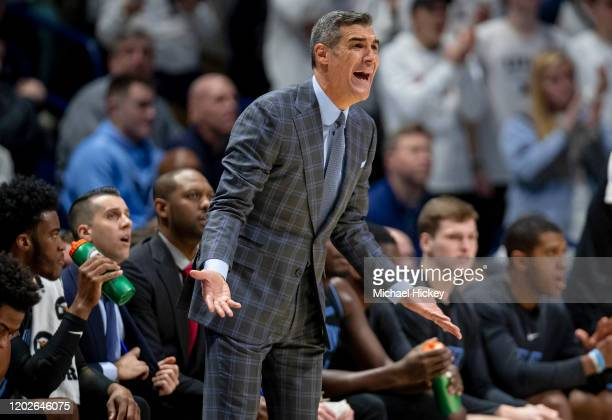 Head coach Jay Wright of the Villanova Wildcats is seen during the first half against the Xavier Musketeers at Cintas Center on February 22, 2020 in...