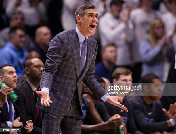 Head coach Jay Wright of the Villanova Wildcats is seen during the game against the Xavier Musketeers at Cintas Center on February 22, 2020 in...