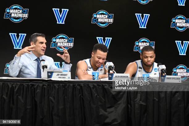 Head coach Jay Wright of the Villanova Wildcats Jalen Brunson and Omari Spellman address the media after the 2018 NCAA Men's Basketball Tournament...