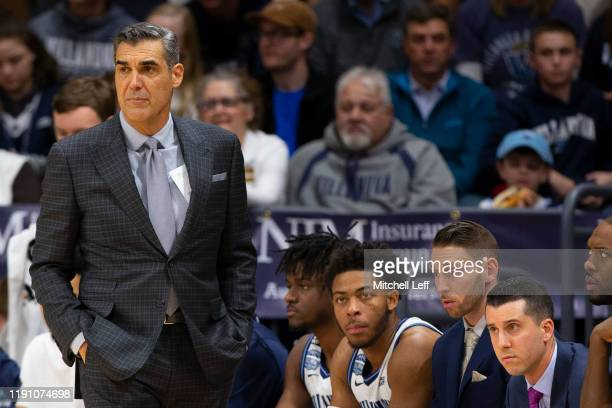 Head coach Jay Wright of the Villanova Wildcats looks on against the Xavier Musketeers in the second half at Finneran Pavilion on December 30, 2019...