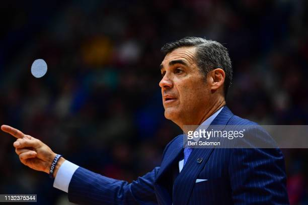 Head coach Jay Wright of the Villanova Wildcats looks on during a game against the Purdue Boilermakers in the second round of the 2019 NCAA Photos...
