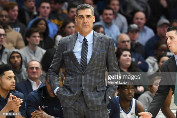Head coach Jay Wright of the Villanova Wildcats looks on during a college basketball game against the DePaul Blue Demons at the Finneran Pavilion on...