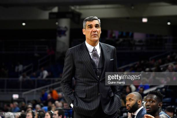 Head coach Jay Wright of the Villanova Wildcats looks on in the second half against the DePaul Blue Demons at Wintrust Arena on February 19, 2020 in...