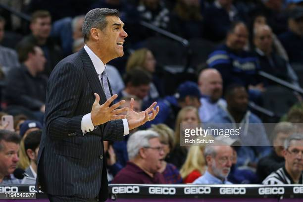 Head coach Jay Wright of the Villanova Wildcats reacts against the Connecticut Huskies during the second half of a college basketball game at Wells...