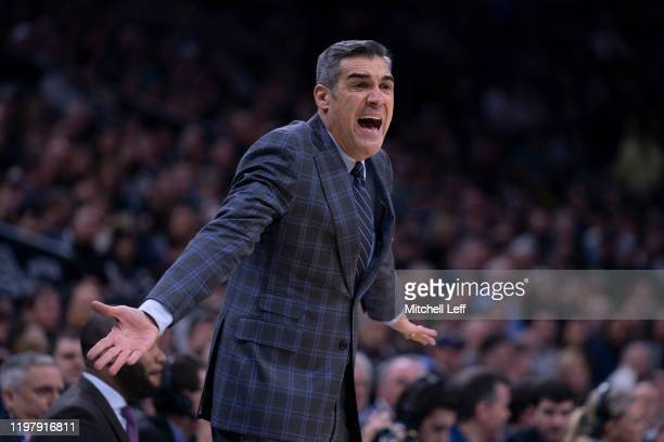 Head coach Jay Wright of the Villanova Wildcats reacts against the Creighton Bluejays in the first half at the Wells Fargo Center on February 1, 2020...