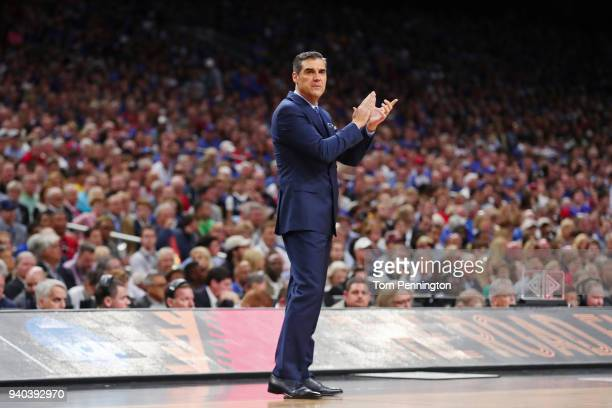 Head coach Jay Wright of the Villanova Wildcats reacts against the Kansas Jayhawks in the second half during the 2018 NCAA Men's Final Four Semifinal...