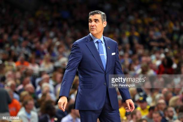Head coach Jay Wright of the Villanova Wildcats reacts against the Michigan Wolverines in the first half during the 2018 NCAA Men's Final Four...