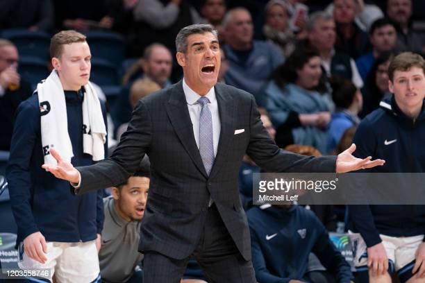 Head coach Jay Wright of the Villanova Wildcats reacts against the St. John's Red Storm in the first half at Finneran Pavilion on February 26, 2020...
