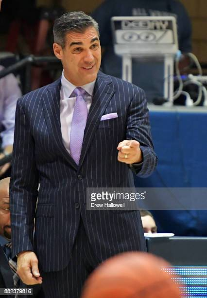 Head coach Jay Wright of the Villanova Wildcats reacts during the game against the Pennsylvania Quakers at Jake Nevin Field House on November 29 2017...