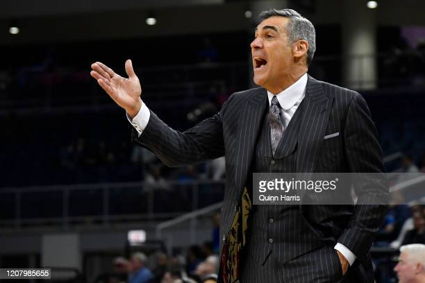 Head coach Jay Wright of the Villanova Wildcats reacts in the second half against the DePaul Blue Demons at Wintrust Arena on February 19, 2020 in...