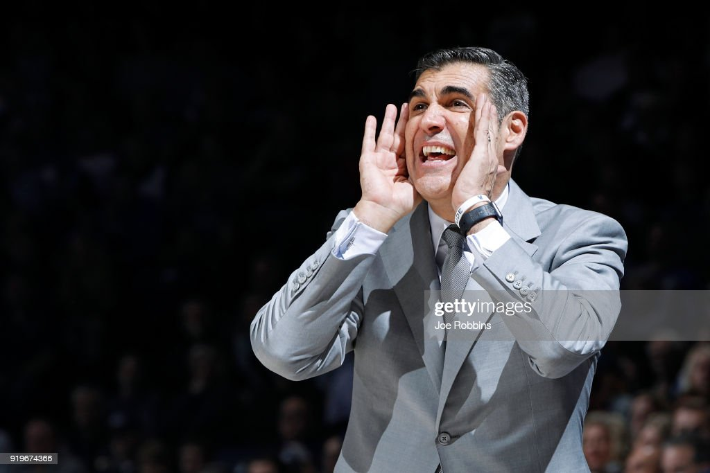 Head coach Jay Wright of the Villanova Wildcats reacts in the second half of a game against the Xavier Musketeers at Cintas Center on February 17, 2018 in Cincinnati, Ohio. Villanova won 95-79.