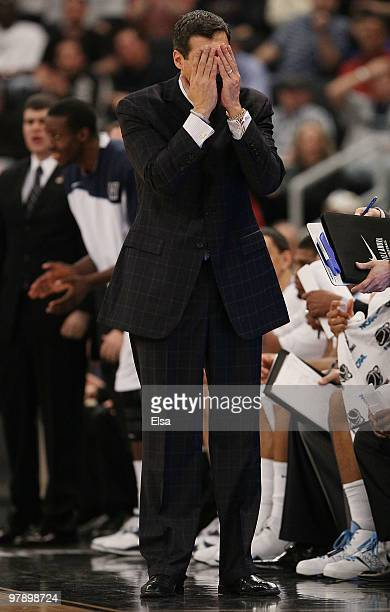 Head coach Jay Wright of the Villanova Wildcats reacts to a foul call against one of his players in the first half against the Saint Mary's Gaels...