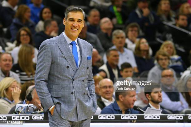 Head coach Jay Wright of the Villanova Wildcats smiles during the second half of a college basketball game against the Ohio Bobcats at Wells Fargo...