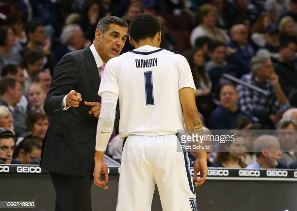 Head coach Jay Wright of the Villanova Wildcats talks to Jahvon Quinerly during the second half of a game against the Quinnipiac Bobcats at Wells...