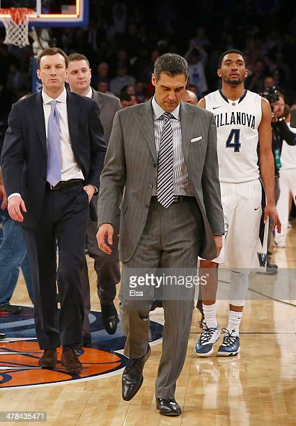 Head coach Jay Wright of the Villanova Wildcats walks off the court after the loss to Seton Hall Pirates during the quarterfinals of the Big East...