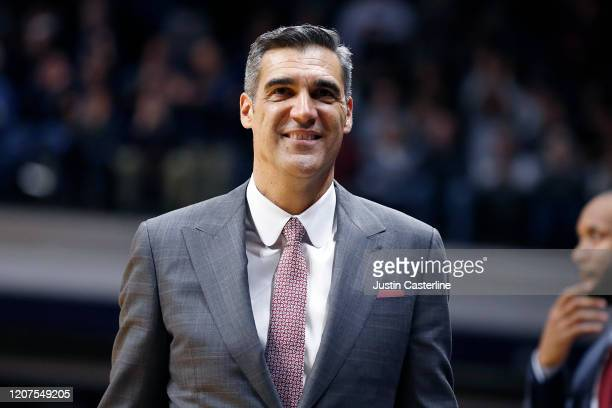 Head coach Jay Wright of the Villanova Wildcats walks the sidelines in the game against the Butler Bulldogs at Hinkle Fieldhouse on February 05, 2020...