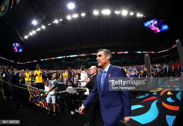 Head coach Jay Wright of the Villanova Wildcats walks to the court before the 2018 NCAA Men's Final Four National Championship game against the...