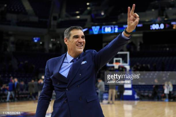 Head coach Jay Wright of the Villanova Wildcats waves to the fans after a victory over the DePaul Blue Demons at Wintrust Arena on January 30, 2019...