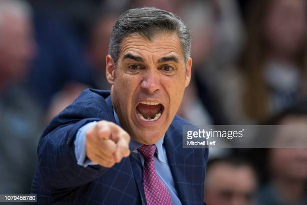 Head coach Jay Wright of the Villanova Wildcats yells in the second half against the St John's Red Storm at Finneran Pavilion on January 8 2019 in...