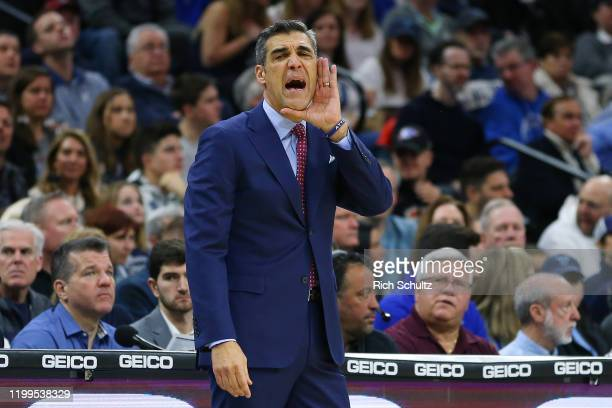 Head coach Jay Wright the Villanova Wildcats reacts during the first half of a college basketball game against the Seton Hall Pirates at Wells Fargo...