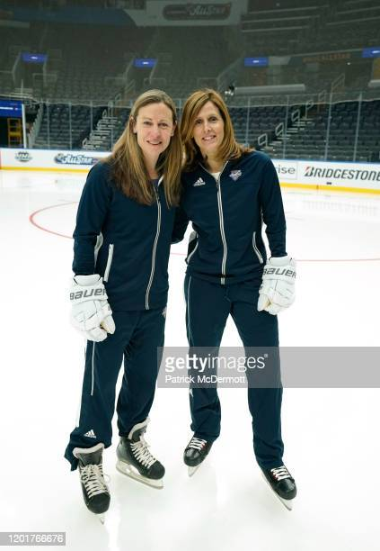Head Coach Jayna Hefford of the Canadian All-Stars and Head Coach Cammi Granato of the American All-Stars pose for a photo after the Elite Women's...