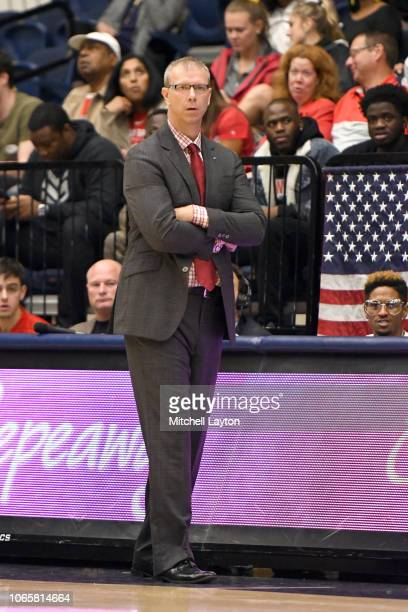 Head coach Jeff Boals of the Stony Brook Seawolves looks on during a college basketball game against the George Washington Colonials at the Smith...