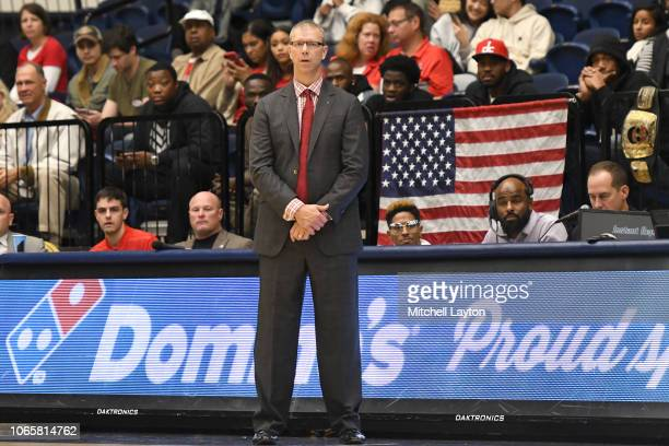 Head coach Jeff Boals of the Stony Brook Seawolves looks onduring a college basketball game against the George Washington Colonials at the Smith...