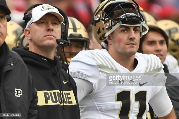 Head coach Jeff Brohm of the Purdue Boilermakers watches action with quarterback David Blough against the Nebraska Cornhuskers at Memorial Stadium on...