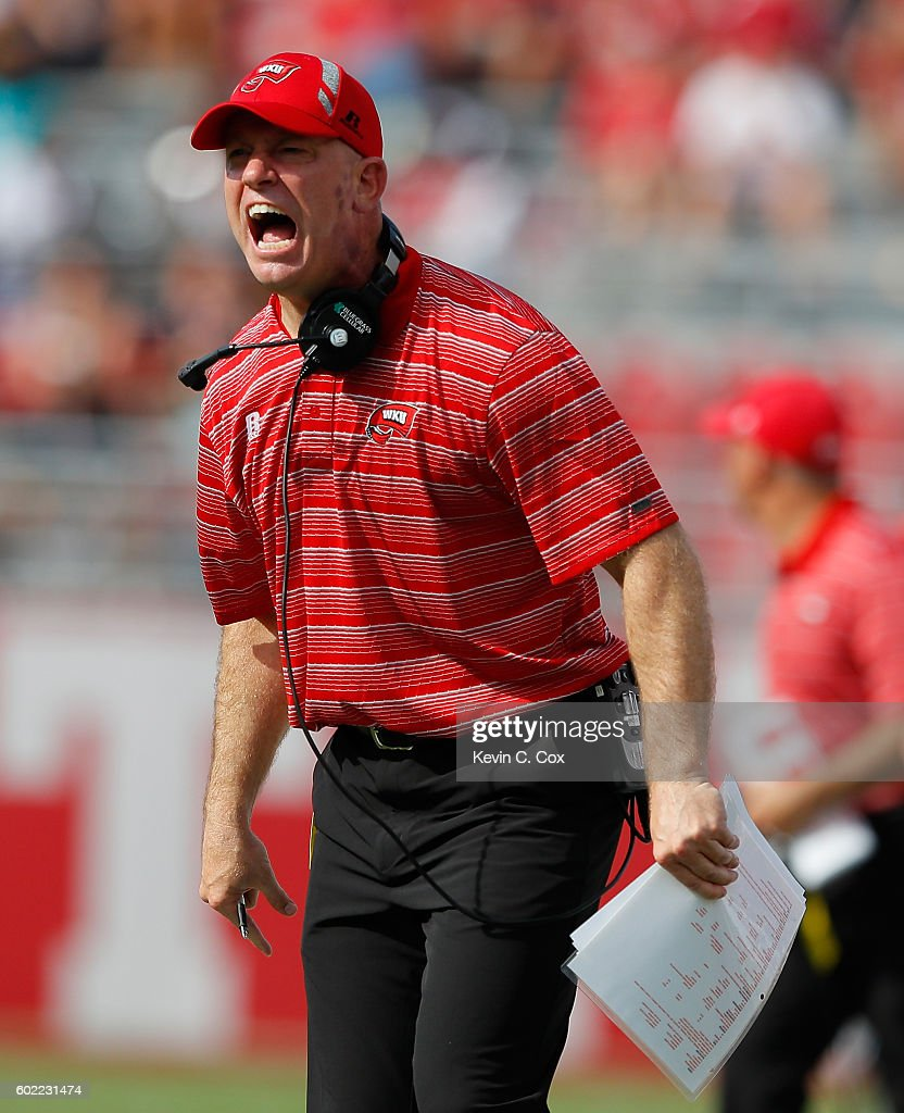 Head coach Jeff Brohm of the Western Kentucky Hilltoppers yells from the sidelines against the Alabama Crimson Tide at Bryant-Denny Stadium on September 10, 2016 in Tuscaloosa, Alabama.