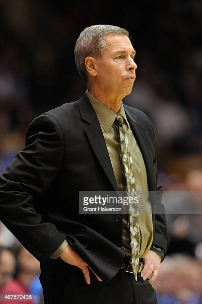 Head coach Jeff Bzdelik of the Wake Forest Demon Deacons directs his team against the Duke Blue Devils during their game at Cameron Indoor Stadium on...