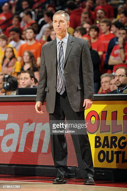 Head coach Jeff Bzdelik of the Wake Forest Demon Deacons looks on during a college basketball game against the Maryland Terrapins on February 18 2014...