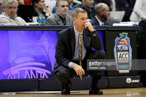 Head coach Jeff Bzdelik of the Wake Forest Demon Deacons looks on against the Maryland Terrapins' during their first round game of 2012 ACC Men's...