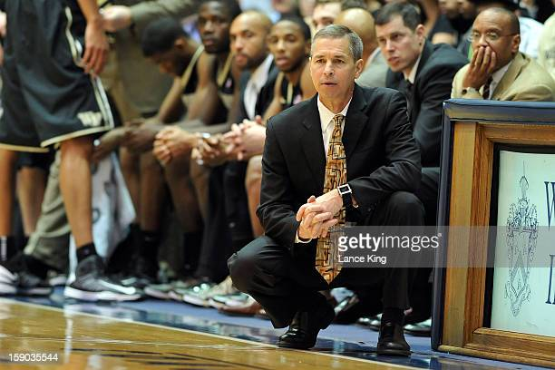 Head Coach Jeff Bzdelik of the Wake Forest Demon Deacons looks on from the sideline against the Duke Blue Devils at Cameron Indoor Stadium on January...