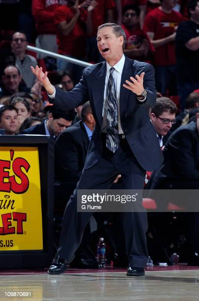 Head coach Jeff Bzdelik of the Wake Forest Demon Deacons reacts to a call during the game against the Maryland Terrapins at the Comcast Center on...