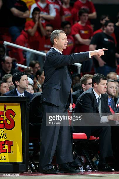 Head coach Jeff Bzdelik of the Wake Forest Demon Deacons watches the game against the Maryland Terrapins at the Comcast Center on February 05 2011 in...