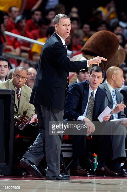 Head coach Jeff Bzdelik of the Wake Forest Demon Deacons watches the game against the Maryland Terrapins at the Comcast Center on January 11 2012 in...