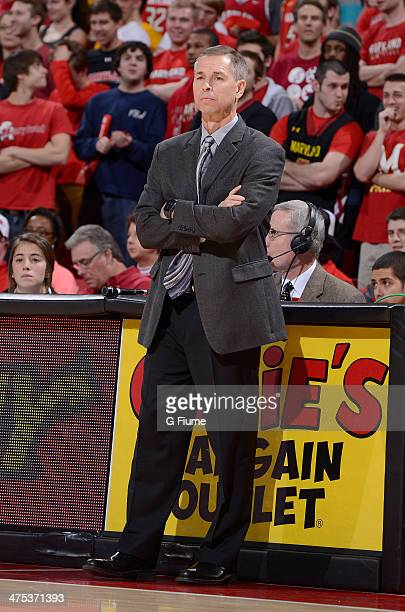 Head coach Jeff Bzdelik of the Wake Forest Demon Deacons watches the game against the Maryland Terrapins at the Comcast Center on February 18 2014 in...