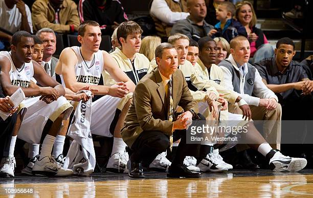 Head coach Jeff Bzdelik of the Wake Forest Dermon Deacons watches from the sidelines during firsthalf action against the Miami Hurricanes at the...
