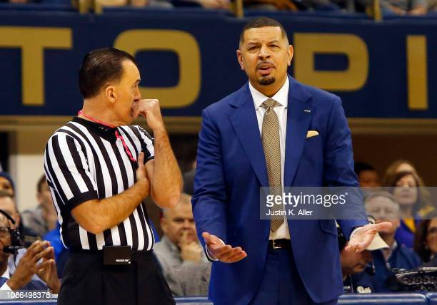Head coach Jeff Capel III of the Pittsburgh Panthers argues a call against the Duke Blue Devils at Petersen Events Center on January 22 2019 in...