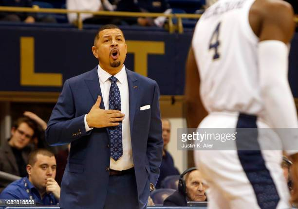 Head coach Jeff Capel III of the Pittsburgh Panthers coaches against the Florida State Seminoles at Petersen Events Center on January 14 2019 in...