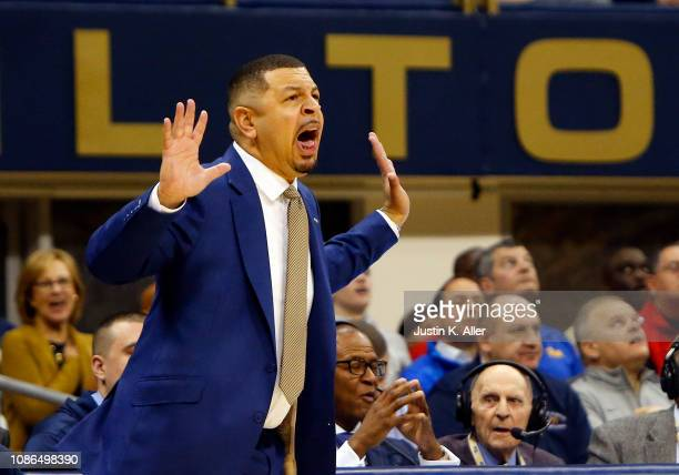 Head coach Jeff Capel III of the Pittsburgh Panthers coaches against the Duke Blue Devils at Petersen Events Center on January 22 2019 in Pittsburgh...