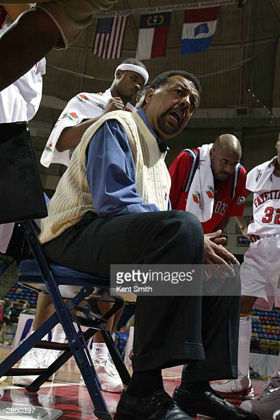 Head coach Jeff Capel of the Fayetteville Patriots talks to his team during the game against the Columbus Riverdragons at Crown Coliseum on December...