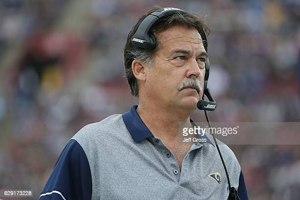 Head coach Jeff Fisher of the Los Angeles Rams looks on against the Atlanta Falcons in the first half at Los Angeles Memorial Coliseum on December 11...